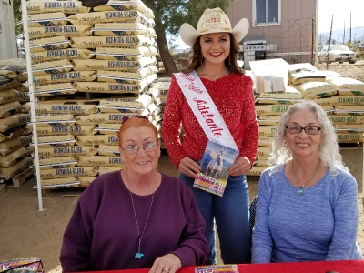 Photo of Miss Adelanto Rodeo Queen with Victoria and Nancy